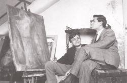 con il pittore Sandro De Alexandris, Torino 1959