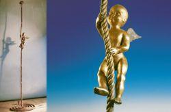 Incontenibile leggerezza, 1991, bronzo (intero e particolare) cm h 350x70x25