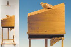 Piano inclinato, 1988, legno di cirmolo, faggio e plexiglas (intero e particolare) cm 214 x 72 x 59