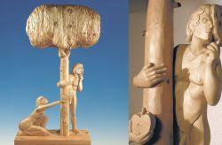 L'albero della libertà, 1986-1987, legno di cirmolo e tiglio (fronte e particolare) cm h 255x116x55