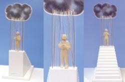 La pioggia cade col suo cielo, 1995, legno, acciaio, plexiglas cm h 67 x 25 x 34