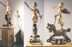 Cavaldondolo, 1996-1997, bronzo e legno (intero, fronte e lato) cm h 175x80x40