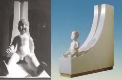 La grande madre, 1990, marmo bianco di Carrara (fronte e lato) cm 100 x 100 x 20