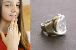 La mela, anello, argento, mm h 20 x 24 x 10