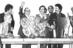 con il pittore Ennio Calabria, il critico d'arte Dario Micacchi e il pittore Aldo Turchiaro, Firenze 1979