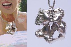 Il bacio, ciondolo, argento, mm h 54 x 52 x 26