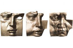 Mascherone n°1-2-3, 1974, bronzo, cm 40 x 40 x 15