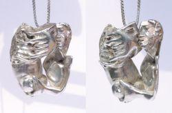 Bacio appassionato, ciondolo, argento, mm h 57 x 53 x 25