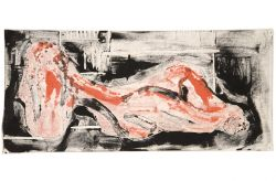 Nudo disteso, 1963, xilografia, mm 180 x 410