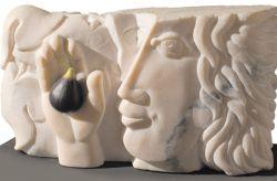 Nella mia mano, 2002, marmo rosa del Portogallo cm h 29x49x13