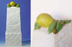 Isola del Limone, 2002, marmo bianco di Carrara (intero e particolare) cm 56,5 x 20 x 14,5