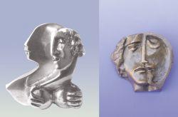 La sua ombra, mini-scultura, argento, mm h 48 x 40 x 20  e Significar, medaglione, bronzo, mm h 43 x 50 x 17