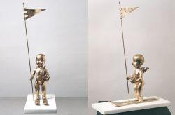 Vessillifero, 2005, bronzo e marmo cm h 79x22,5x55