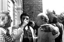 con il critico d'arte Nicola Micieli e lo scultore Agenore Fabbri, Agliè 1991