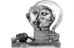 Falce e martello. Omaggio a Picasso, 1976, bronzo cm h 53x50x30
