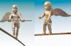 Funambolo, 2007, bronzo (fronte e profilo) cm h 60x60x200