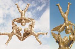 Volteggiar nell'aere, 2007, bronzo (intero e particolare) cm h 20x100x100