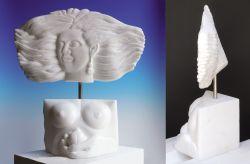 Fructuosa Irene, 2015, marmo bianco di Carrara (fronte e profilo) cm h 70 x 50 x 30