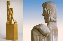 A Dieu. Monumento a Carmelo Bene, 1984-1985, legno di tiglio (fronte e particolare) cm h 190x65x20
