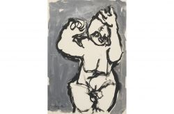 Figura in grigio, 1963, china, cm 50 x 70