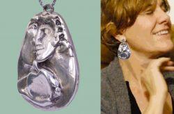 Nel circolo, medaglione e orecchini, argento, mm h 48 x 38 x 8