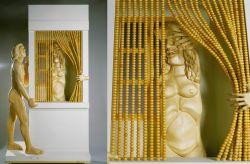 La tendina, 1986, legno di tiglio, pino svedese, e plexiglass (intero e particolare)