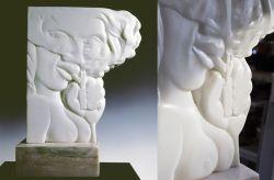 Donna che fuma, 1991, marmo bianco di Carrara (intero e particolare) cm h 55x40x12