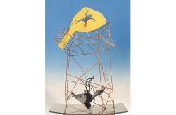 L'astronave gialla, 1966, ferro colorato, bronzo, acciaio, cm 130 x 90 x 50