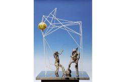 Il Pane, 1966, ferro colorato, bronzo, acciaio, plexiglas, cm 100 x 80 x 51